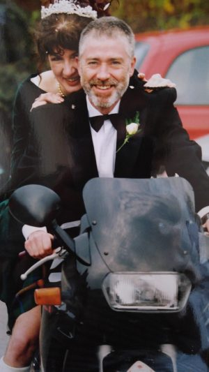 Me and my kilted husband on his motorbike
