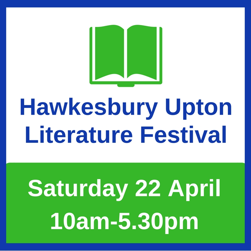 graphic of Hawkesbury Upton Lit Fest logo and date 22nd April 2017