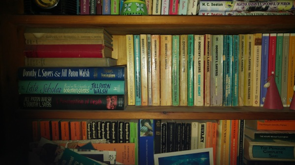 Dorothy L Sayers collection on packed bookshelf