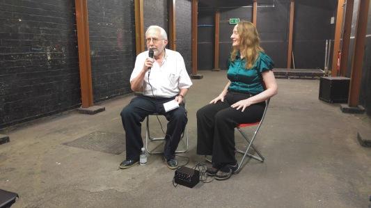 Photo of Michael interviewing A A Abbott