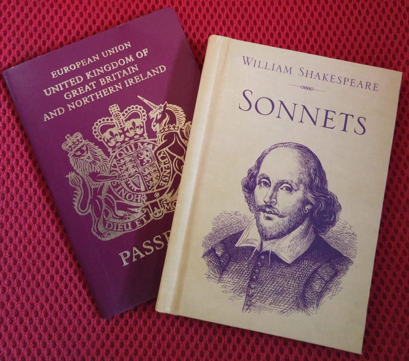 passport and small book of Shakespeare sonnets at the same size