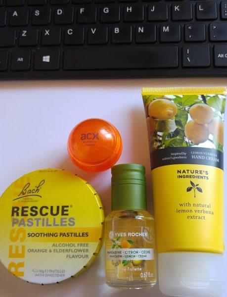 Photo of Bach Rescue Remedies, lip gloss, perfume and hand cream