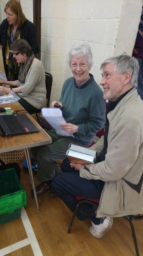 photo of Gordon with Liz, volunteer librarian
