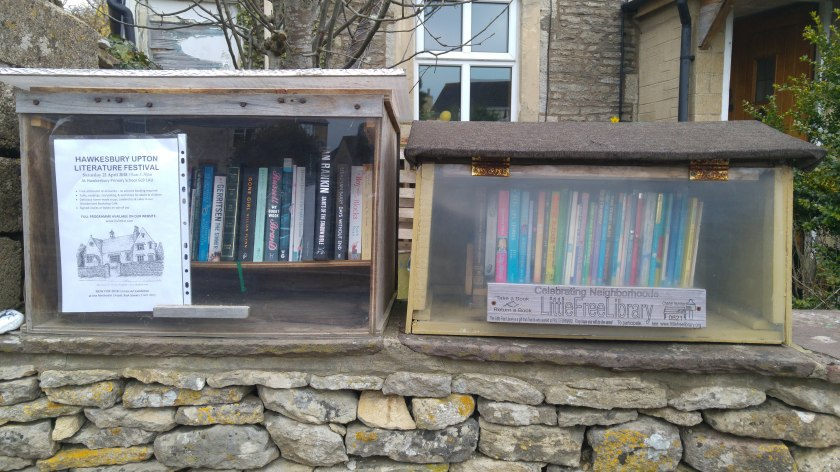 photo of two Little Free Library boxes on the drystone wall outside my house