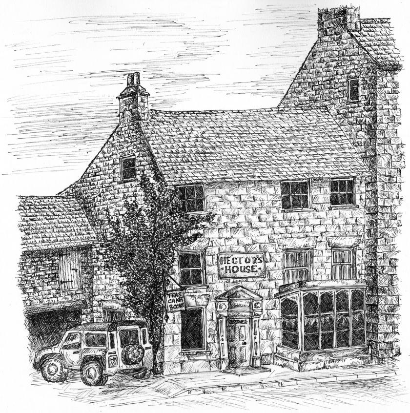 illustration of bookshop and tea room