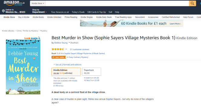 screenshot showing orange bestseller flag on Best Murder in Show