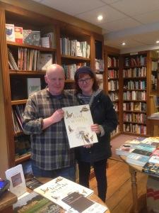 photo of Debbie with Hereward in his Tetbury shop