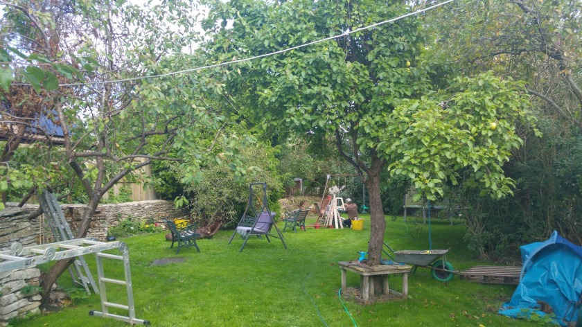 photo of garden with ladders, tools etc