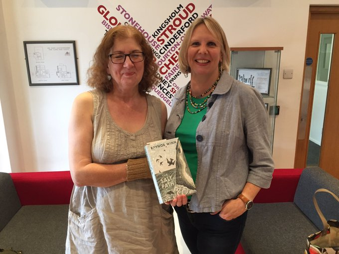 Photo of Debbie and Caroline with The Salt Path by Raynor Winn at the BBC Radio Gloucestershire studio