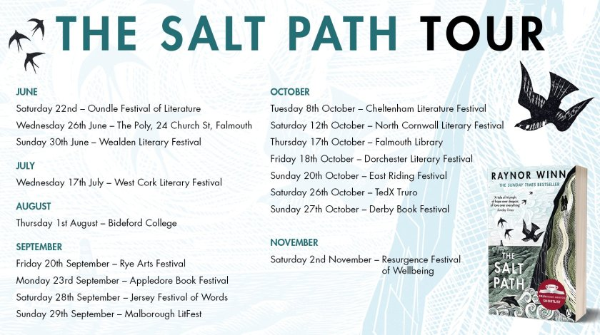 graphic of cover of The Salt Path by Raynor Winn and list of her coming talks