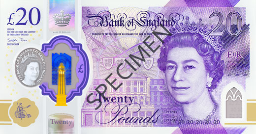 The side of the new £20 note showing the Queen, featured on all British banknotes