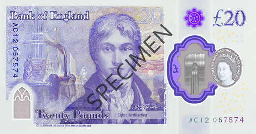The side of the £20 note showing Turner and his painting of The Fighting Temeraire