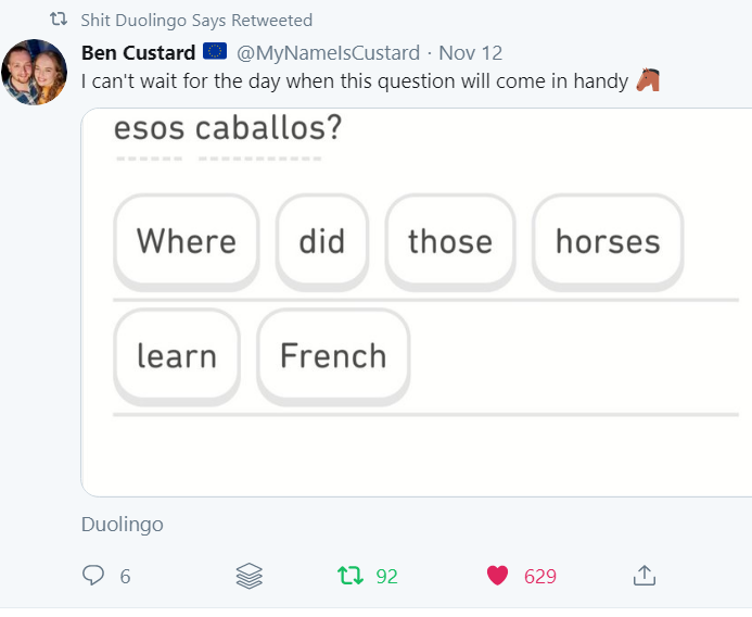 """screenshot of phrase """"Were did those horses learn French?"""