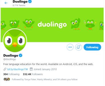 screenshot of Duolingo's Twitter home page