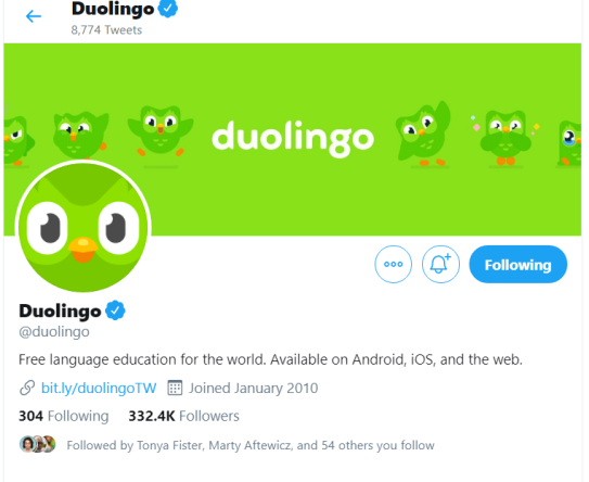 screenshot of Duolingo's Twitter home page